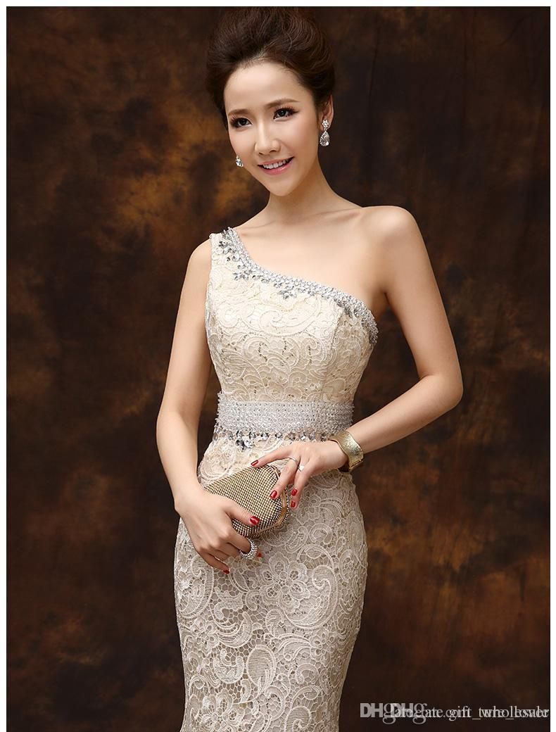 2017 new formal evening dresses mermaid fishtail one shoulder lace sexy slim dinner party prom long dresses elegant champagne blue red