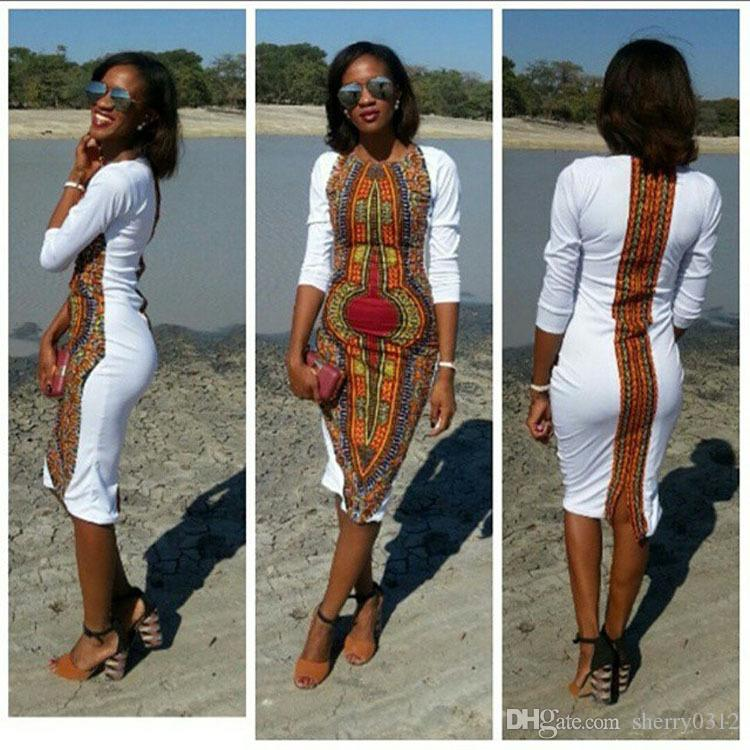 b6ed604b2ec 2017 Spring Traditional African Clothing Women Sexy Slim Long Sleeve Dress  Dashiki Casual Print Party Dress Vestidos Plus Size Casual Dress Green Dress  ...