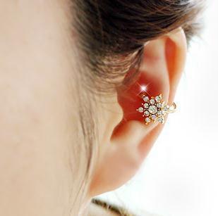 Новое прибытие мода прекрасный снег цветок Фея Кристалл не пирсинг клип серьги горный хрусталь уха манжеты для женщин Рождественский подарок