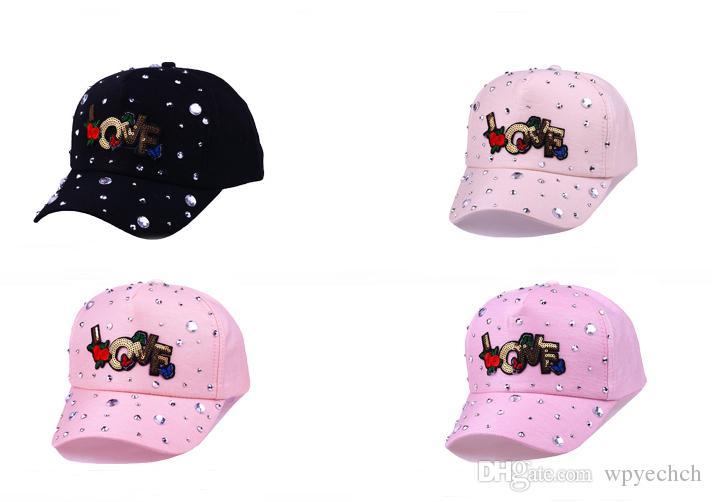 Boné de beisebol das mulheres da moda Simulado Diamantes Subiu Carta Carta de AMOR Casquette Ajustável Snapback Caps Osso Gorro Chapéus