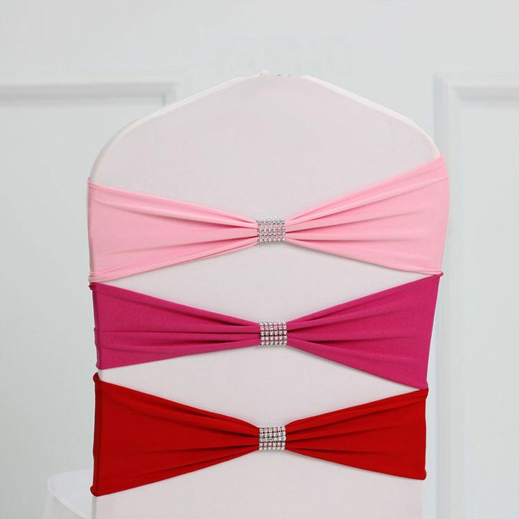 Dark red colour tie bands Lycra sash chair sash Bow tie ribbon For Wedding Party Banquet Decoration for sale with shiny belt