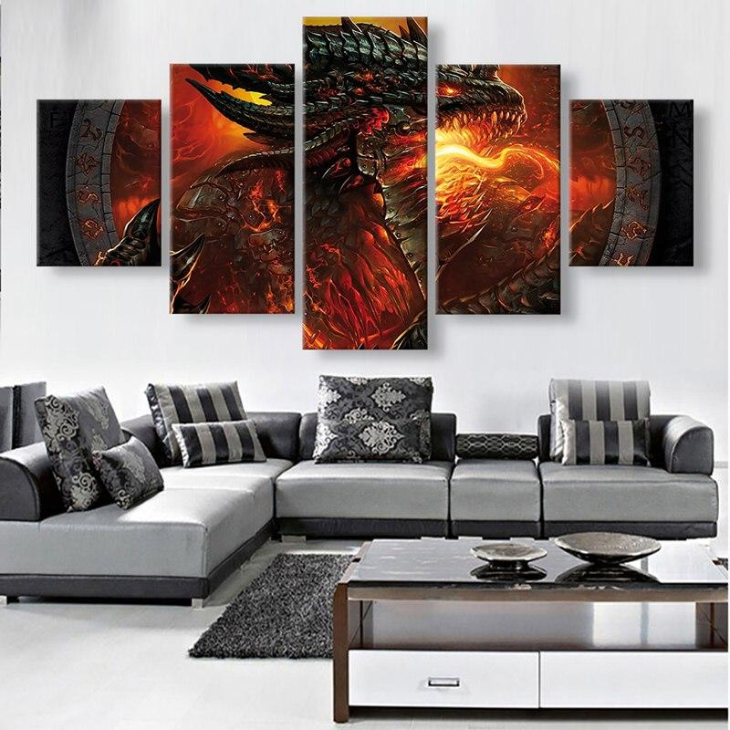 2018 5 Panels Unframed Canvas Wall Art Red Dragon Picture Modern ...