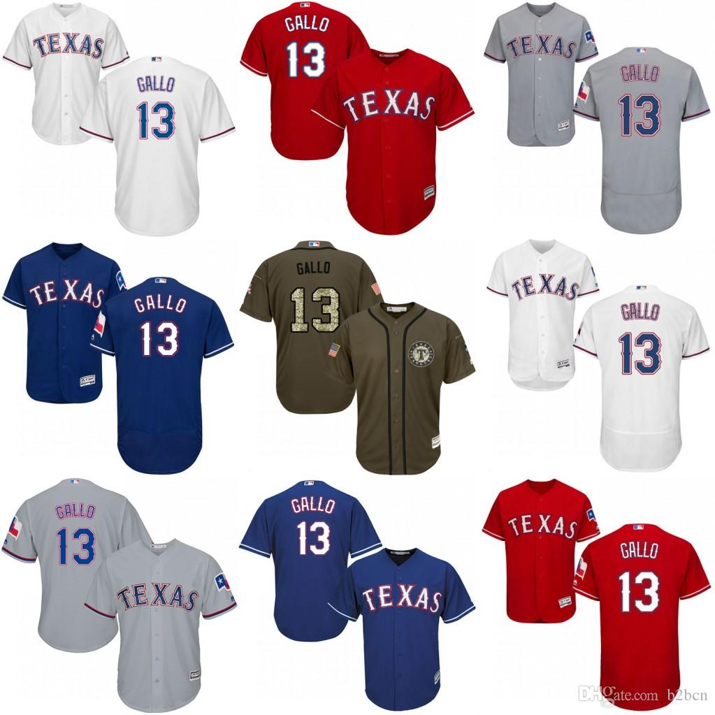 promo code f2974 a9717 texas rangers 13 joey gallo red new cool base stitched ...