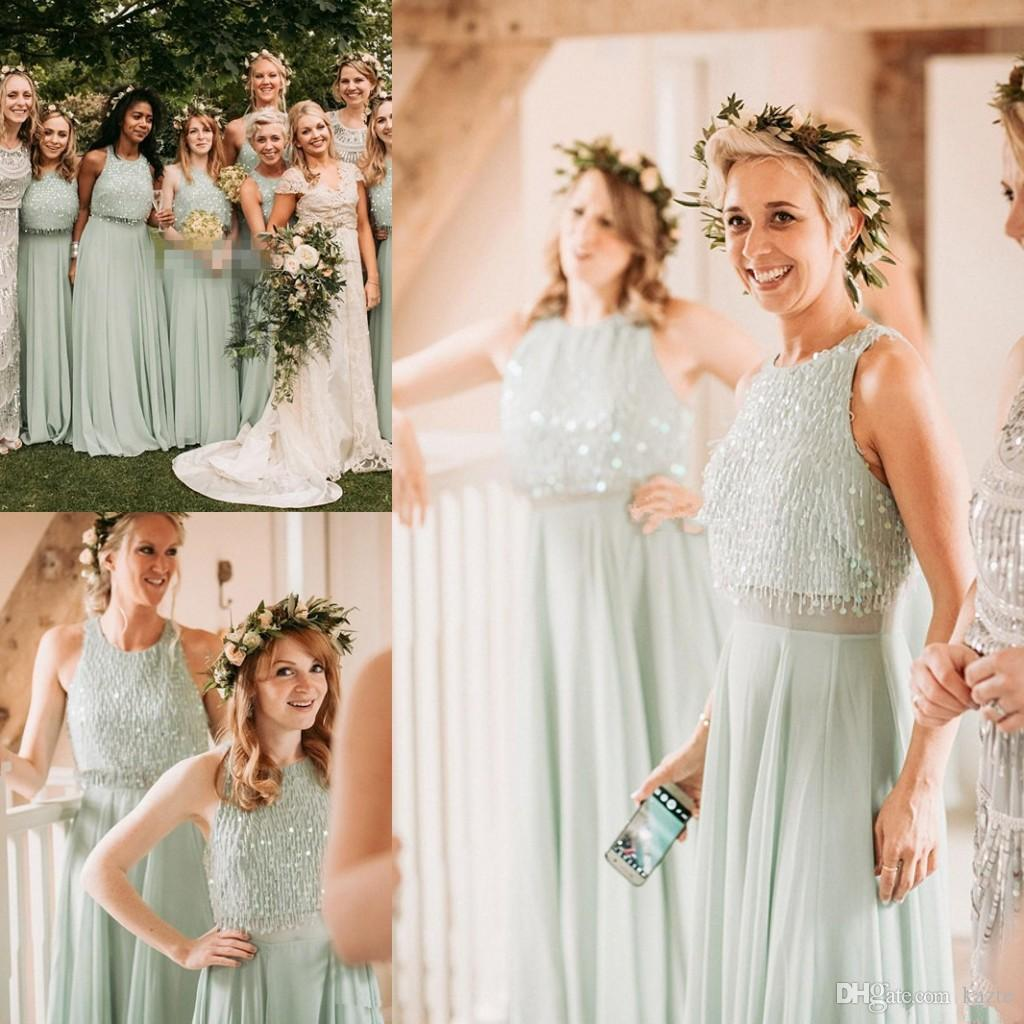 Mint Green Long Country Two Pieces Bridesmaid Dresses 2018 Modest ...
