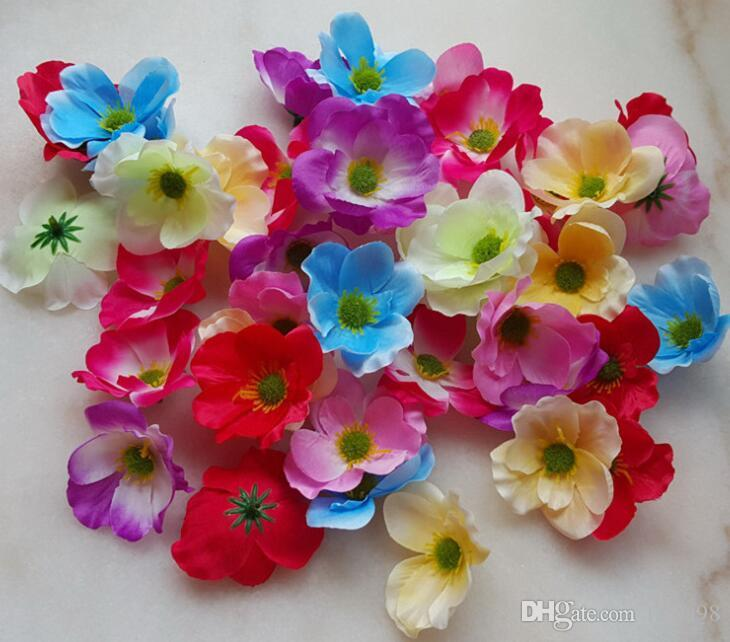 7Cm available Artificial silk Poppy Flower Heads for DIY decorative garland accessory wedding party headware G620