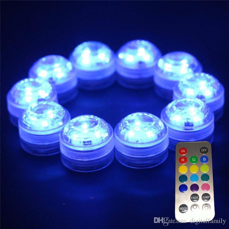 / decorazione Wedding 3 LED RGB impermeabili sommergibili del partito LED le luci di controllo Mini remote Con batteria Halloween Xmas Party