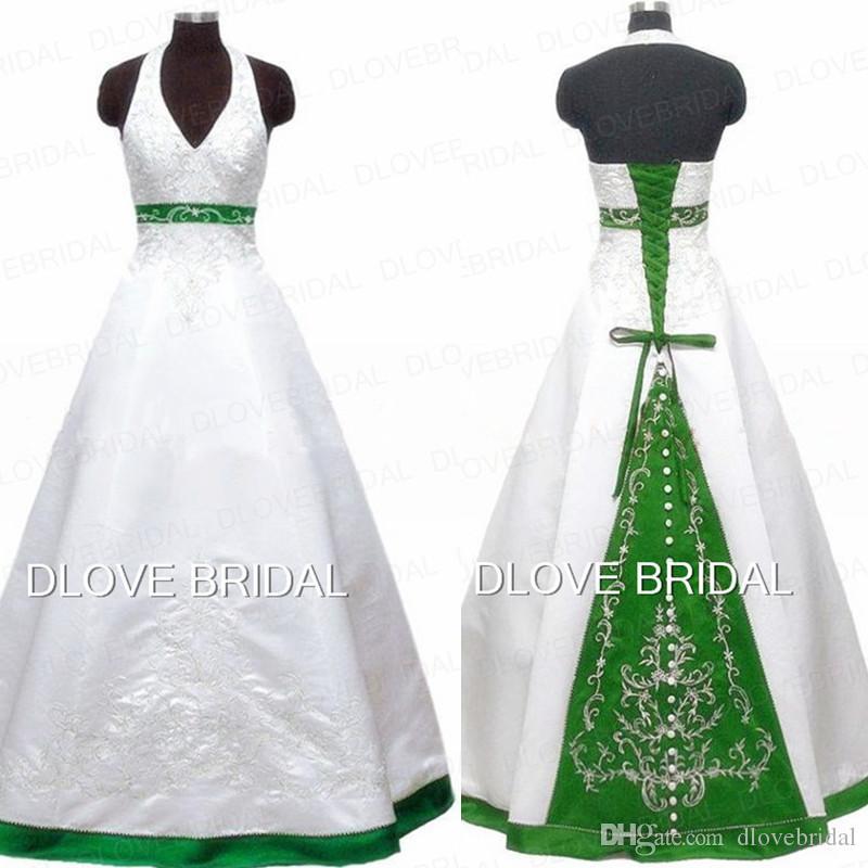 compre vestido de novia del color del halter del bordado del vintage