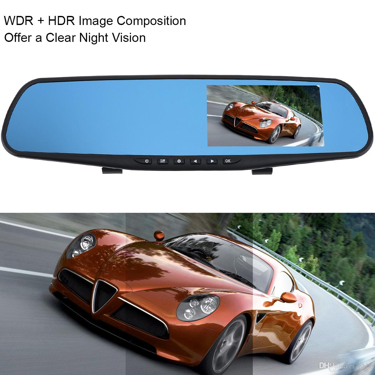 "4.3"" 1080P Full HD Rearview Mirror Dual Channel Recorder Car DVR Support Cyclic Recording Motion Detection Night Version G-sensor CAL_30V"