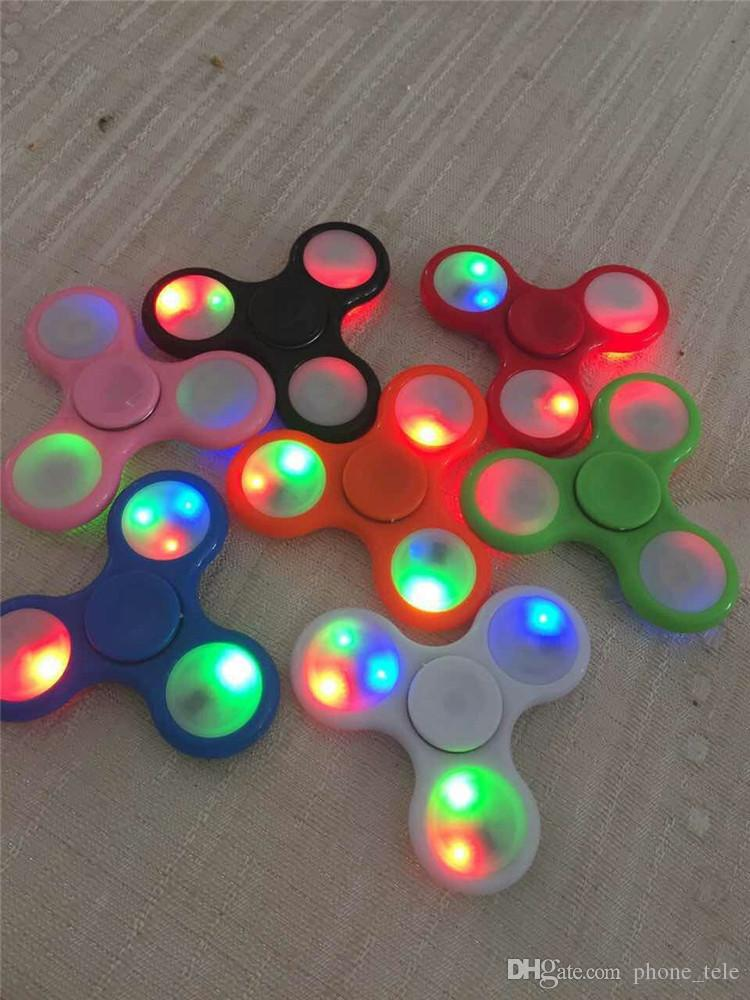 LED Light Fidget Spinner Hand Spinners With Switch LED Flash Tri Finger Fingertip Handspinner Spinning Gyro Decompression Stress Relief Toys