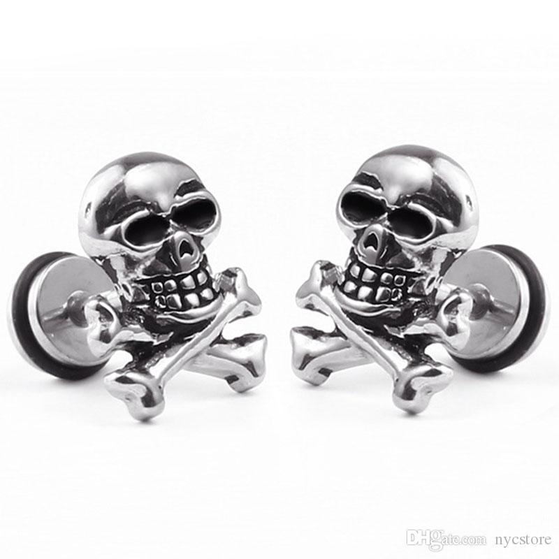 40fb47226 1 piece hot sale punk style 10*13mm stainless steel earring men's women's skull  earring studs titanuim steel ear jewelry