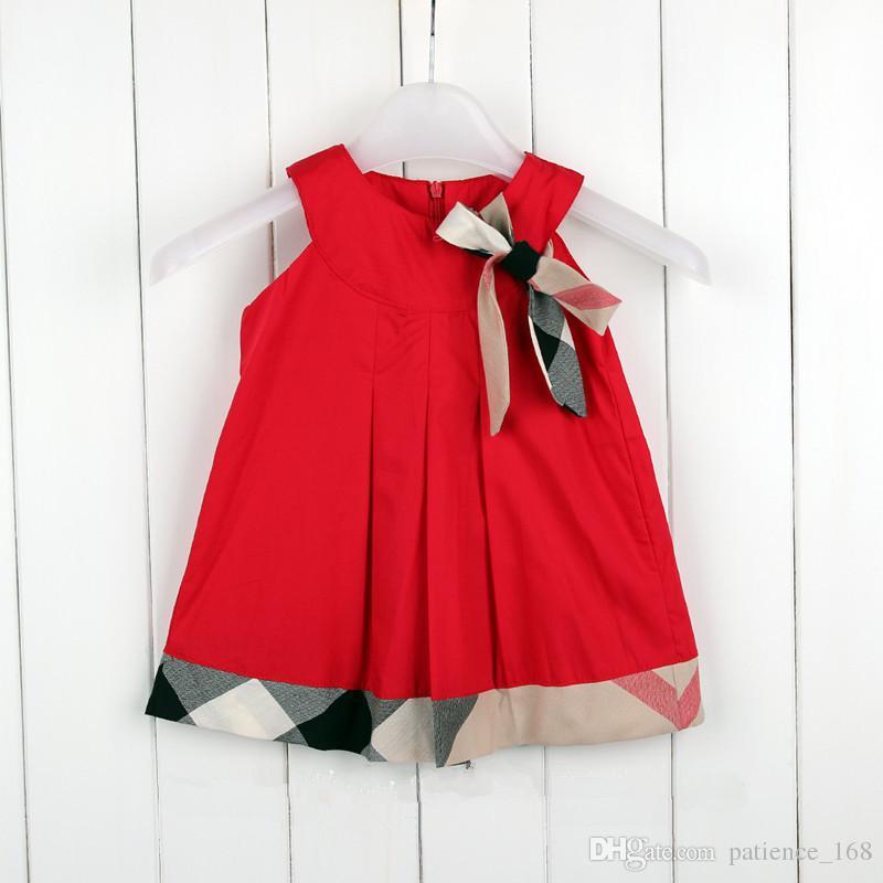 재고 있음 핫 판매 5 색 2018 NEW 도착 여름 소녀 민소매 드레스 고품질 면화 아기 애들 격자 무늬 보우 드레스 무료 배송