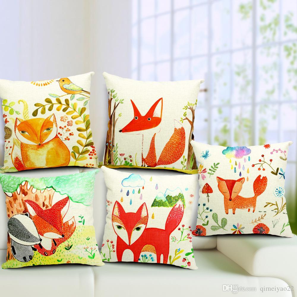 Karikatür Red Fox Yastık Kapak Kare Pamuk Keten Yastık Kapak Housse De coussin El Yatak Odası Sofa için Cojine Boyalı Throw