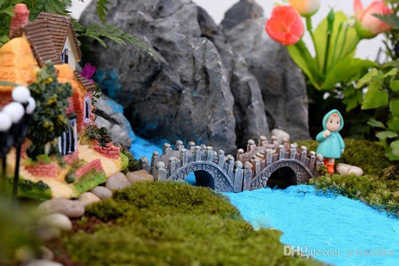 Resin Mini Bridge Miniature Landscape Fairy Garden Moss Terrarium Decoration Tool Garden Crafts DHL Shipping Free