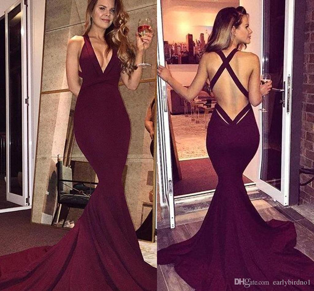 Hot Burgundy Simple Mermaid Prom Dresses 2017 Sexy Backless ...