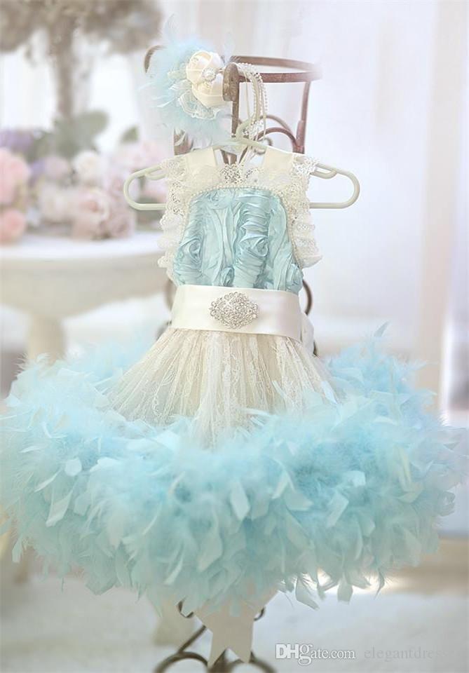 2018 aqua blue baby ersten geburtstag feder kleid für mädchen elfenbein spitze kleine blumenmädchen kleid perlen kleinkind glitz pageant kleider