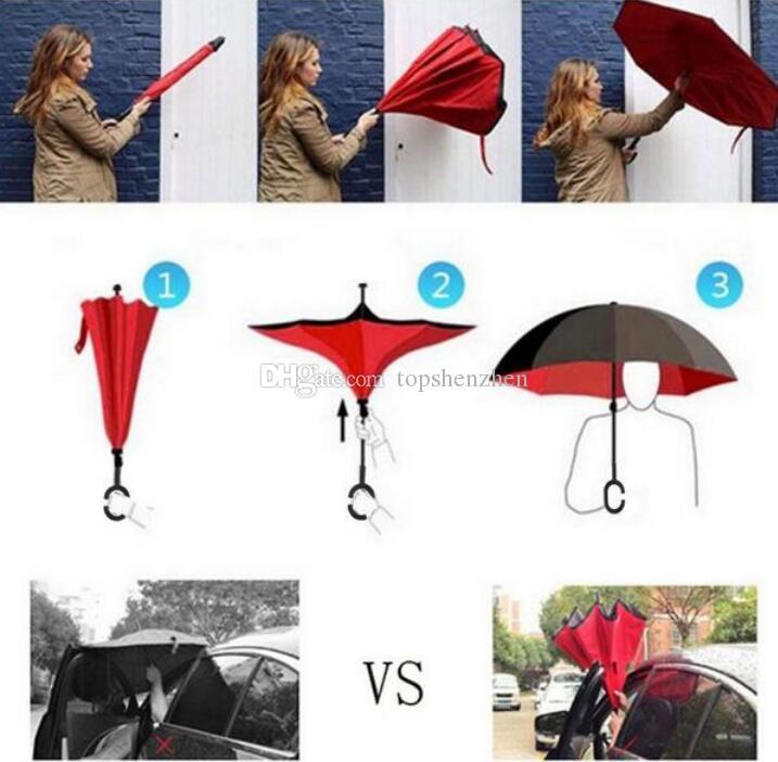 52 renkler Rüzgar Geçirmez Ters Katlanır Çift Katmanlı Ters Chuva Şemsiye Kendini Dışarıda Yağmur Koruması C-Hook Ile Eller ...