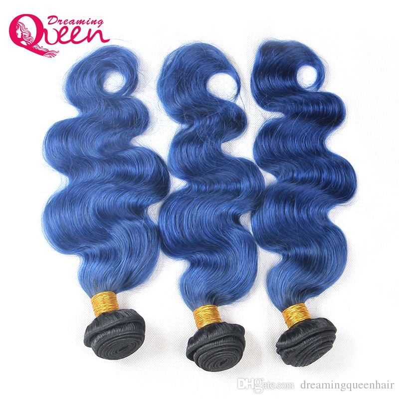 T1B Ocean Blue Color Ombre Brazilian Body Wave Human Hair Extension Ombre Brazilian Virgin Human Hair 3 Bundles Weave Extensions
