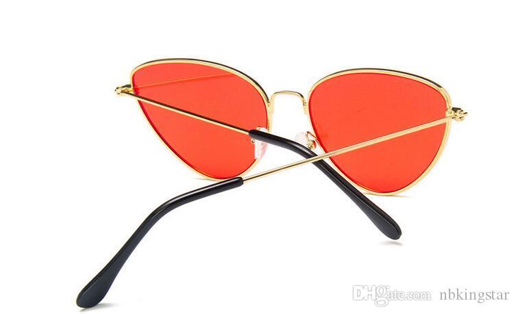 Yeni Marka Tasarımcısı Seksi Kedi Göz Güneş Kadınlar 2017 Yaz Vintage Temizle Shades Metal Güneş Gözlükleri 10 Adet / grup Ücr ...