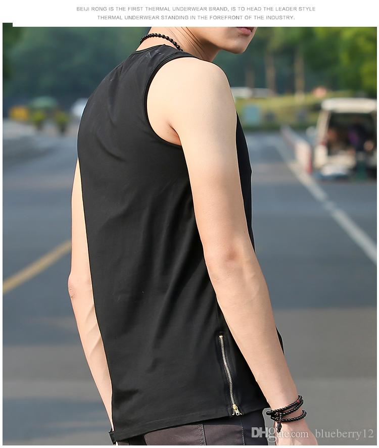 Design Zipper T Shirt Cool Men Boy Hip hop Sleeveless Long T shirts White Black Cotton Tees Sport Tank Top Jogger Vest LGF0434