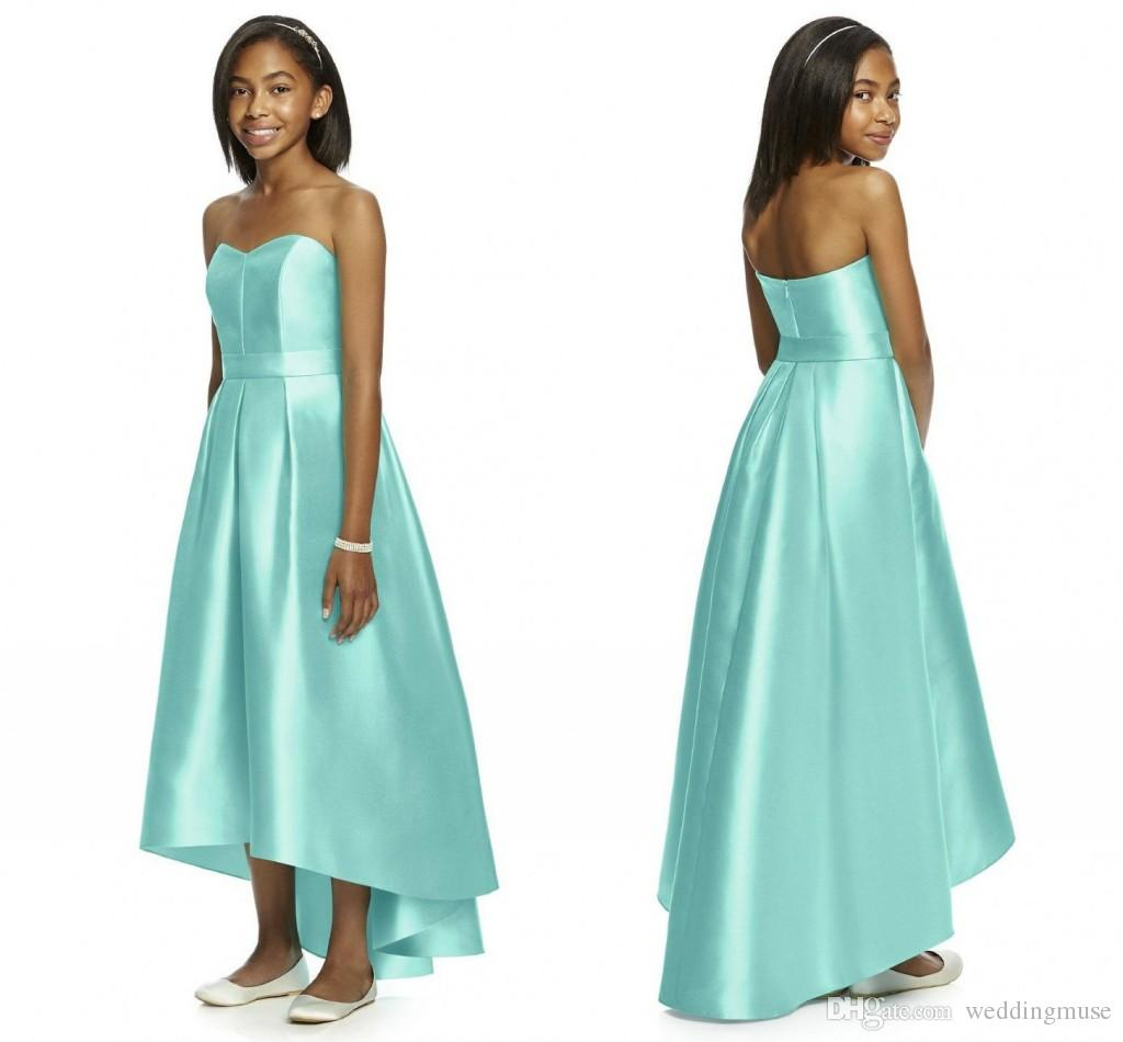Mint Green 2018 Junior Bridesmaid Dresses Strapless Sleeveless Hi Lo ...
