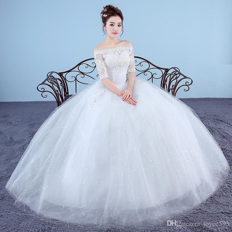 2017 New Fashion Embroidery Wedding Dress Crystal Princess Cheap Wedding Gown Made in China Vestido De Noiva Sereia