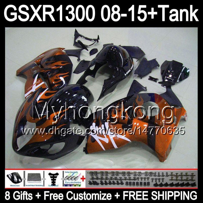 orange flames 8gifts For SUZUKI Hayabusa GSXR1300 08 15 GSXR-1300 14MY33 GSXR 1300 GSX R1300 08 09 10 11 12 13 14 15 Fairing gloss black Kit