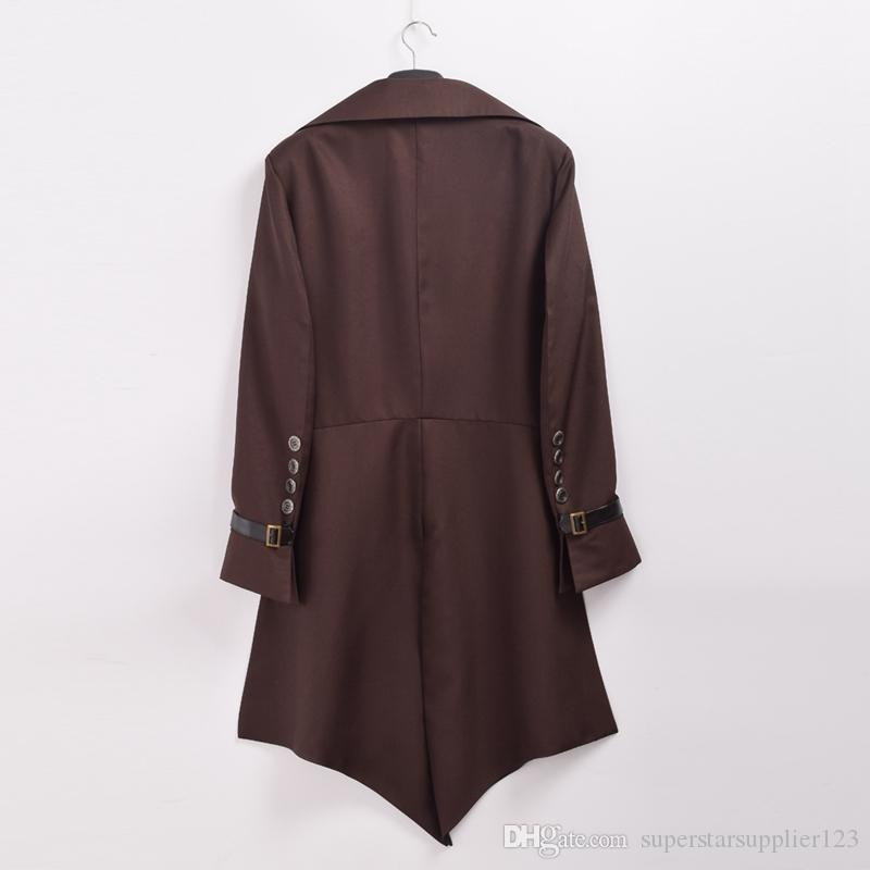 Vintage Victorian Steampunk Aviator Cosplay Costume Collared Mens Brown Swallow-tailed Coat Outwear New Fast Shipment