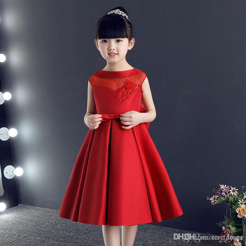 76e1bee766b2 Jewel Neck Pretty Flower Girl Dresses Formal Girls Gowns Cute Satin Red  Pageant Dresses 2017 New Style First Commuion Dresses Girls Boutique Dresses  Girls ...