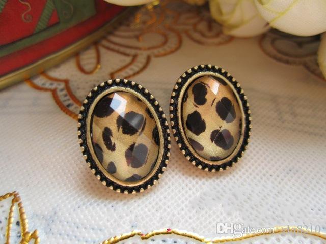 Vintage Sexy Oval Leopard Stud Earrings Crystal Gemstone Jewellery Women New Stylish factory price xmas gifts