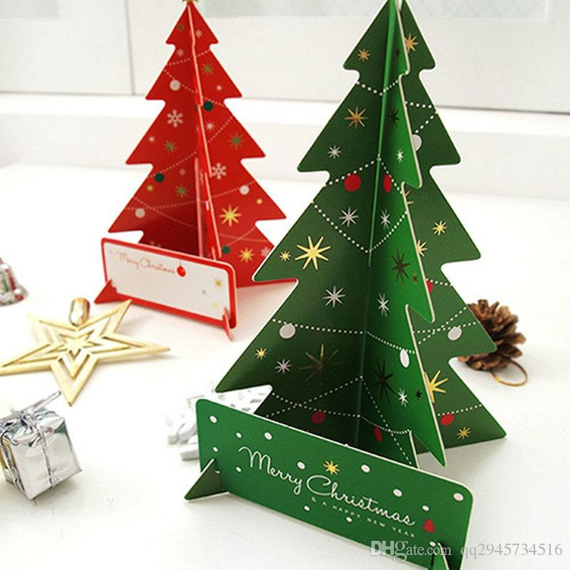 wholesale cheap holiday cards and christmas cards 3d creative stereo paper blessing card envelope christmas tree greeting card christmas cards stereo 3d - Cheap Christmas Photo Cards
