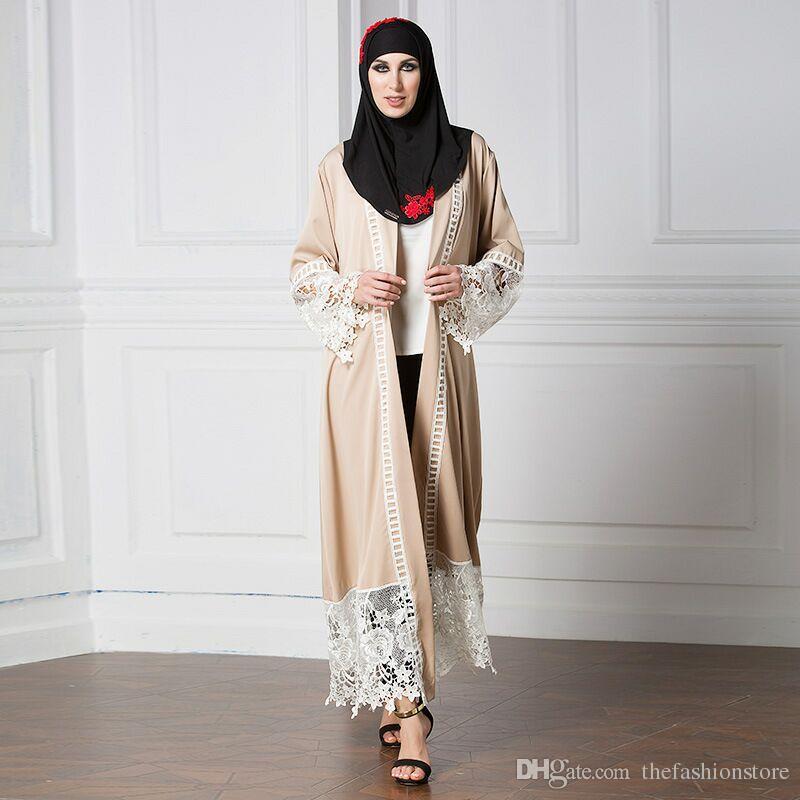 2018 New Muslim Women Lace Cardigan Robes Long Sleeve Abaya Dress ...