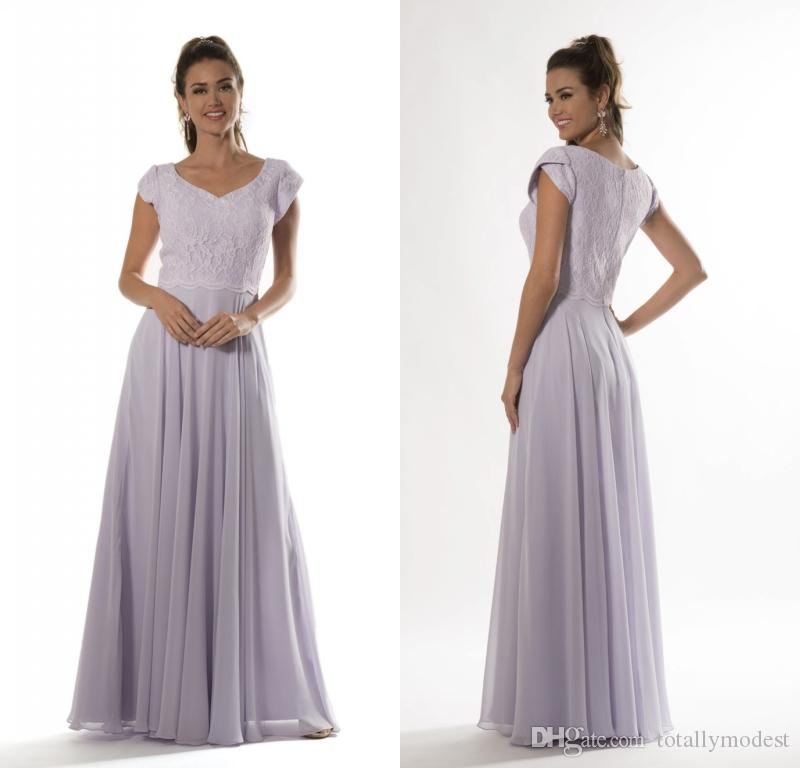 2018 Lilac Long Modest Bridesmaid Dresses 2017 With Cap Sleeves ...