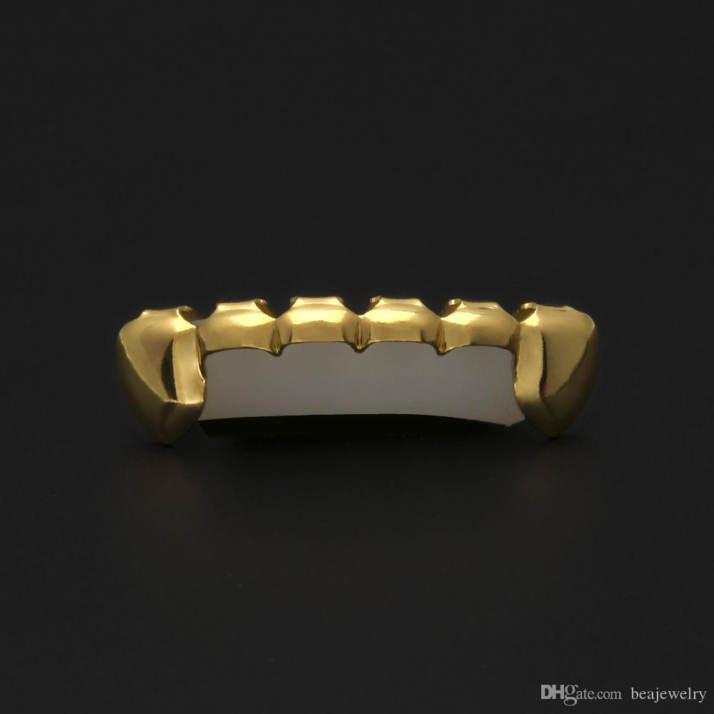 Hip Hop Dracula Vampire Half Grillz Fang Slim 14k Gold Plated Top Bottom Lower Row Slugs Teeth