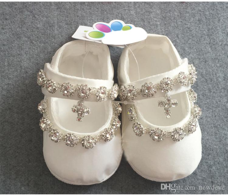 Bling Bling Nuovo arrivo Battesimo Scarpe Baby Rhinestone Bambini Abbigliamento formale Abory Scarpe da ragazze di cristallo in stock