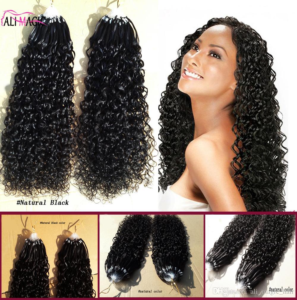 9A Micro Ring Hair Extensions 100% Virgin Human Hair Curly Micro Loop Hair Extensions Natural Black 100G Factory Direct Sales