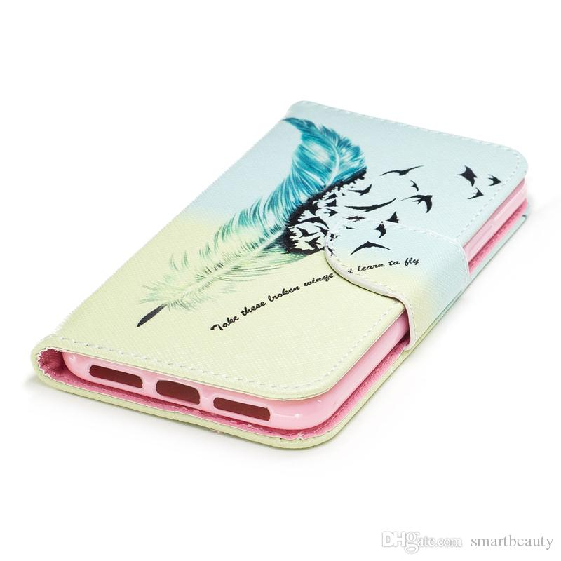 For iPhone X Cover Painted PU Leather Cases Flip wallet Card Stents holster Feather Birds Designer Phone Covers
