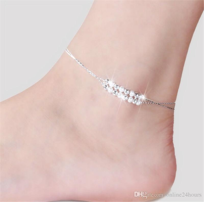 f2036afbddaa2 Double-layer Anklets For Women Girls Foot Bracelets Chain Sterling Silver  Plated Jewelry Leg Bracelet Women Beach Barefoot Jewelry Gift