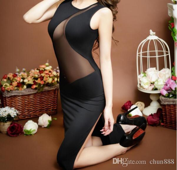 Europa und die Vereinigten Staaten die neue 2017 Frau condole sleeveless geneigten Streifen sexy Dessous Kleid 6125 Kleider langen Rock