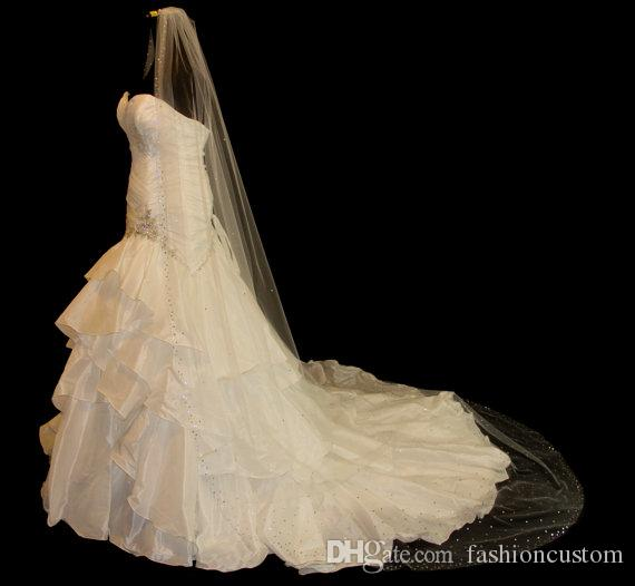 New Arrival 3M Rhinestones Edge Cathedral White Ivory Wedding Veil Bridal Veils With Comb 1T N429