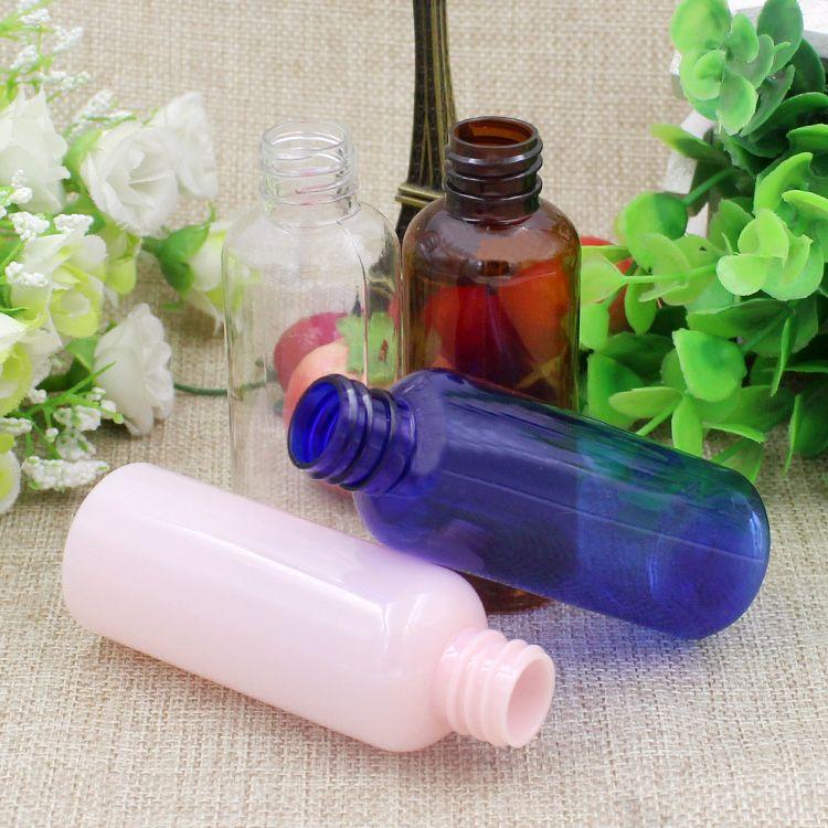 Contenitori biberon E-Jam in plastica trasparente da 100 pezzi da 50 ml, bottiglia in PET da 50 g con tappi a punta crema la cura della pelle, shampoo