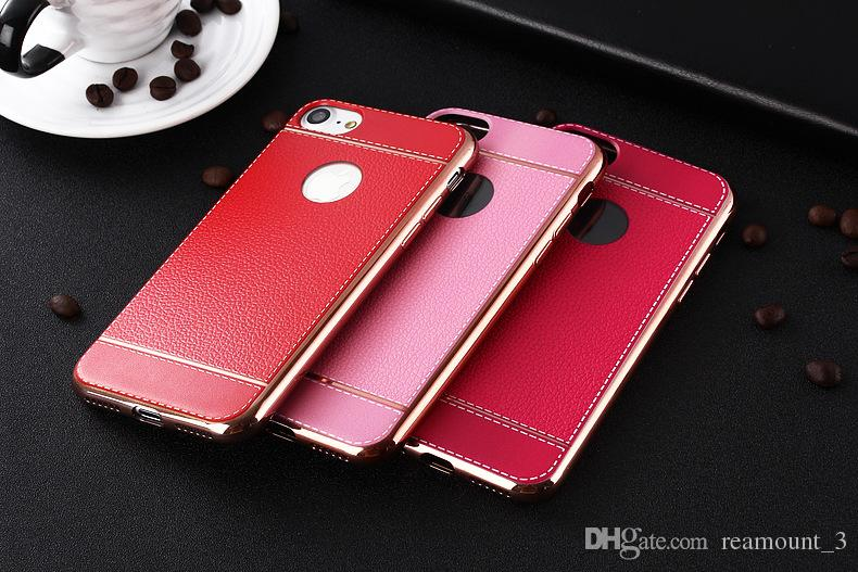 Newest Litchi grain luxury Plating TPU silicone mobile phone case For iphone 6 6s plus 7 Plating Frame clear cover For iphone6 7