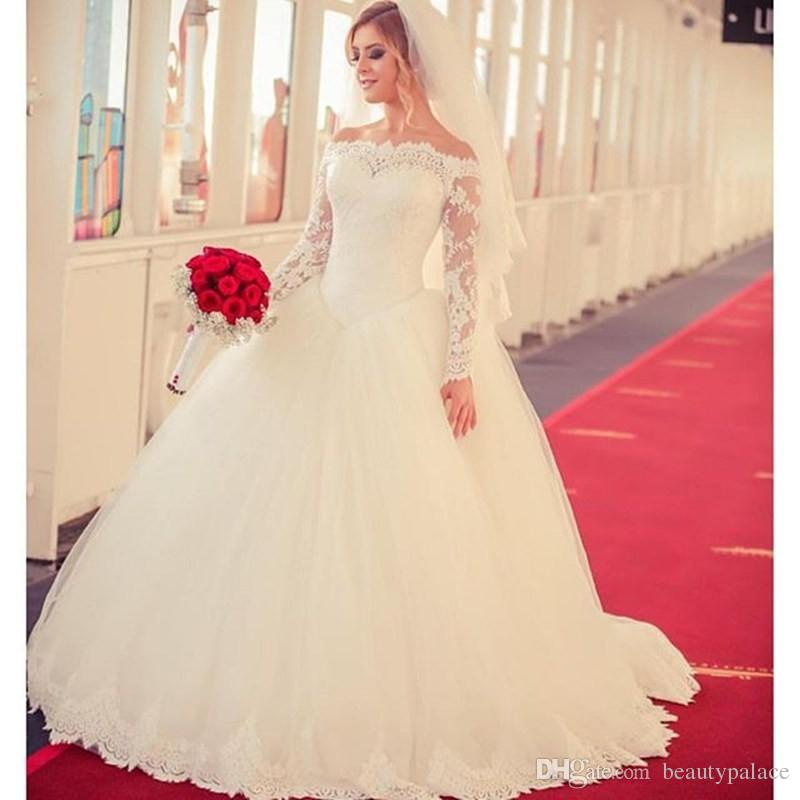 Vintage Backless Tulle Full Sleeve Boat Neck Ball Gown Wedding Dresses 2016 Princess