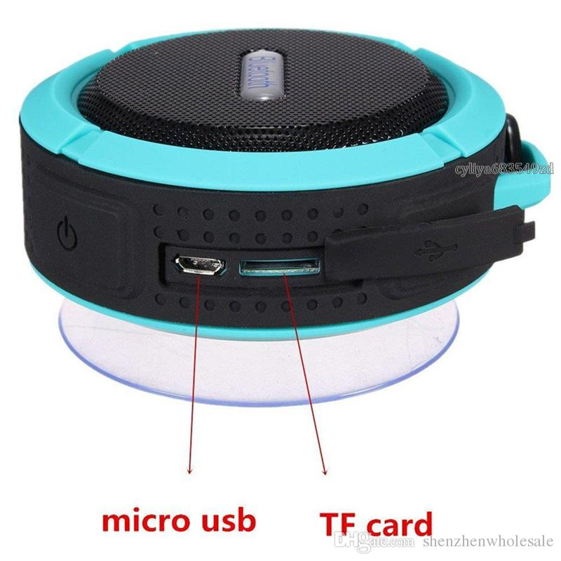 C6 IPX7 Outdoor Sports Shower Portable Waterproof Wireless Bluetooth Speaker Suction Cup Handsfree Voice Box For Smart Phone PC Phone