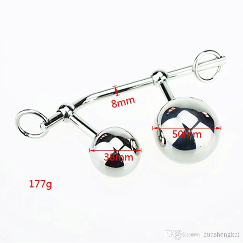 Женский анальный крюк влагалище двойной мяч плагин стали пояса целомудрия веревка анальный крюк бондаж секс-игрушки для женщин замок пояса целомудрия