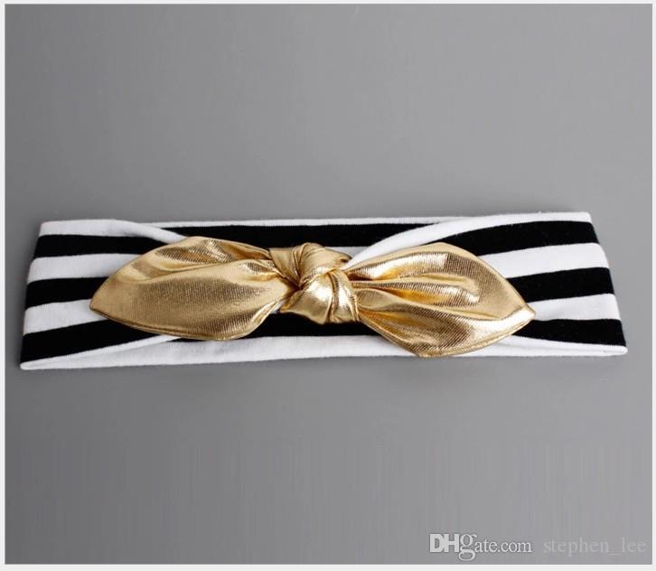 2020 neue Baby-schwarz-weiß gestreifte Stirnband mit goldfarbenen Kaninchenohren Haarbänder Säugling Fotografie Props Kopfschmuck für Kinder Kopfbedeckung /