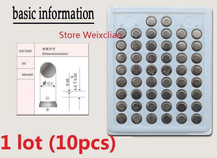 1 lote CR1220 3 V bateria de íon de lítio botão li bateria CR 1220 3 Volts li-ion moeda bandeja pacote Frete Grátis