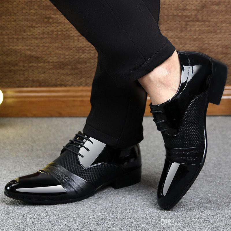 Mens Loafer Patent Leather Pointy Toe Block Heel Wedding Party Shoes Black Eur42