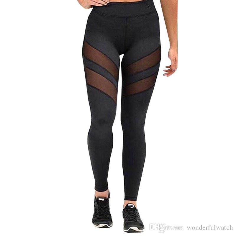 Acheter Femmes Sport Leggings Pantalon De Gymnastique Sexy Maillage Noir  Yoga Collants Leggins Fitness Gym Pantalon Sport Leggings Fitness Vêtements  Gym ... 2d2142fde857
