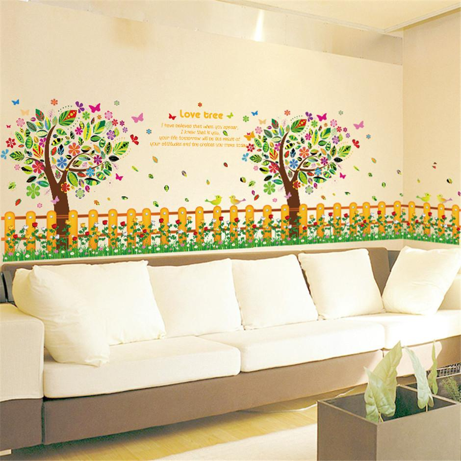 Removable Vinyl Love Tree Cartoon Wall Decal Colorful Hot Sells Wall ...