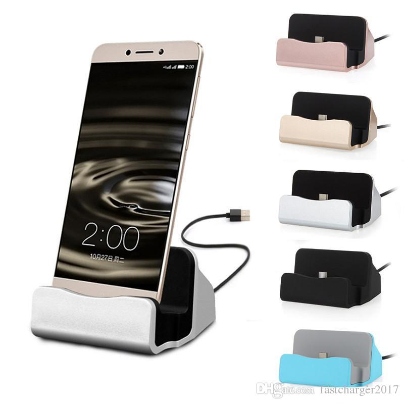 Micro USB dock şarj istasyonu Beşik Hızlı Şarj Sync dock ile Perakende Kutu İçin Samsung Galaxy s6 s7 s8 s10 htc android telefon c Tipi